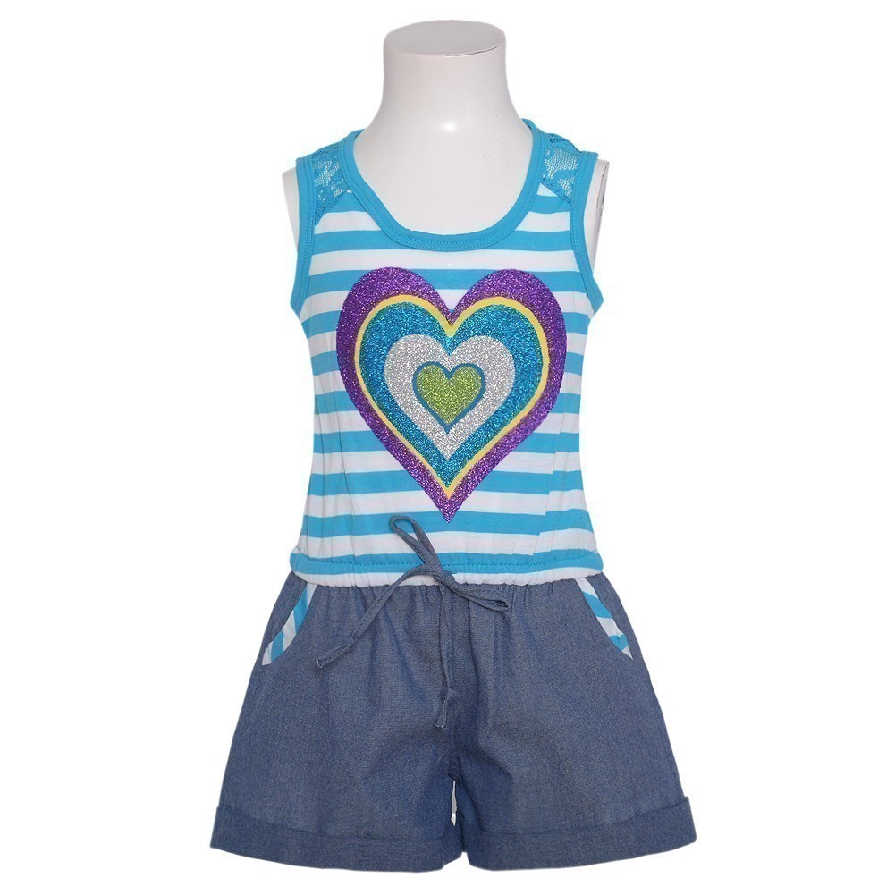 RMLA Girls 4T Blue White Stripe Sparkle Heart 1pc Shorts Romper Outfit at Sears.com