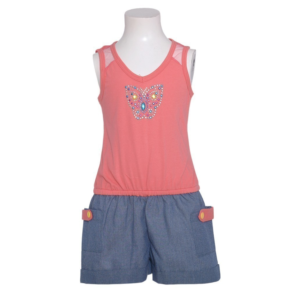 RMLA Little Girls 4 Coral Sequin Butterfly Romper Shorts Summer Outfit at Sears.com