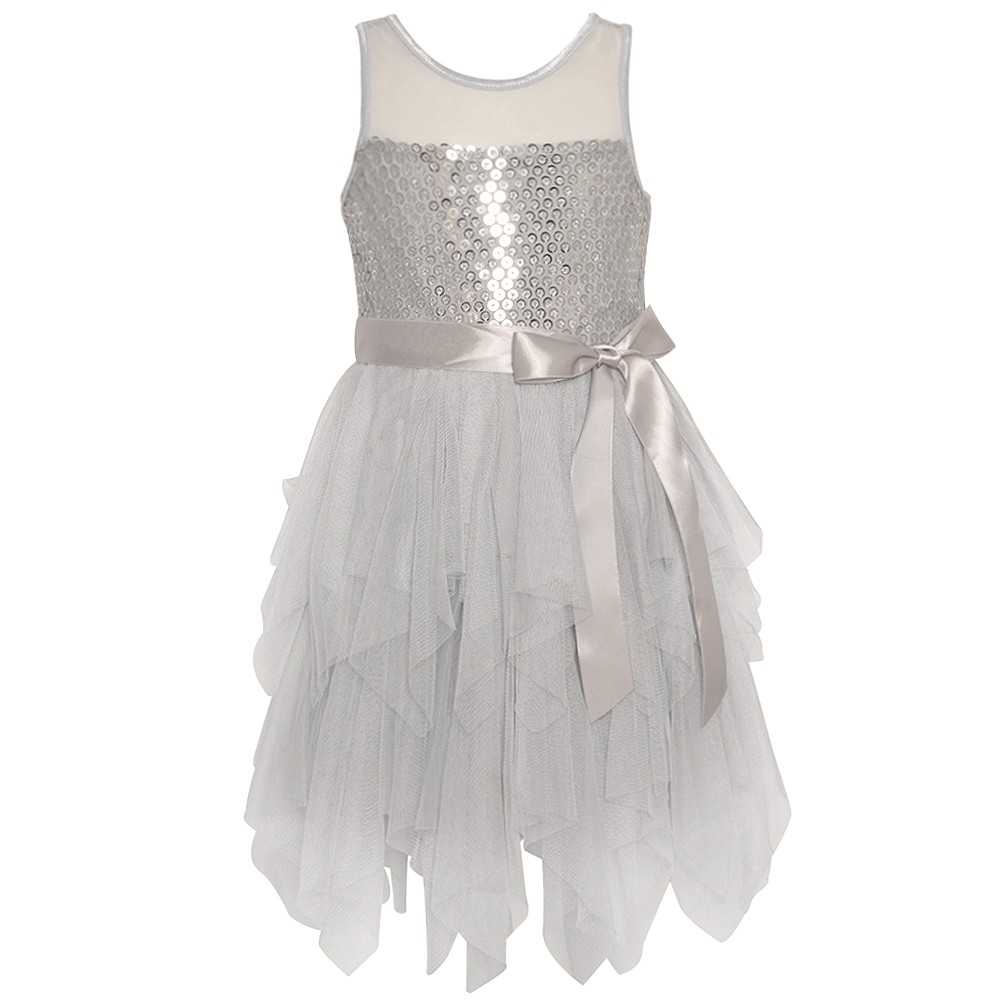 image is loading little girls silver paillettes adorned mesh cascade ruffle