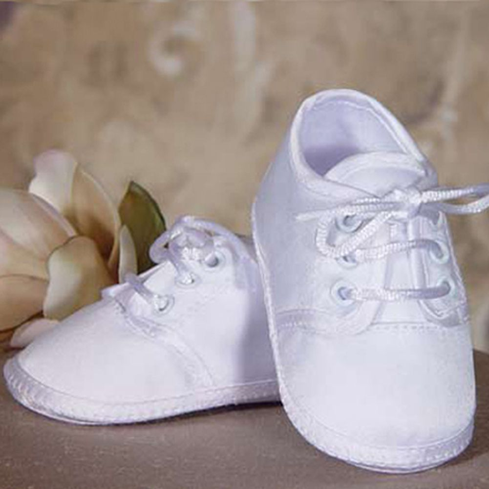 Little Things Mean a Lot Baby Boys Beautiful White Satin Classic Oxford Christening Shoes 0 at Sears.com