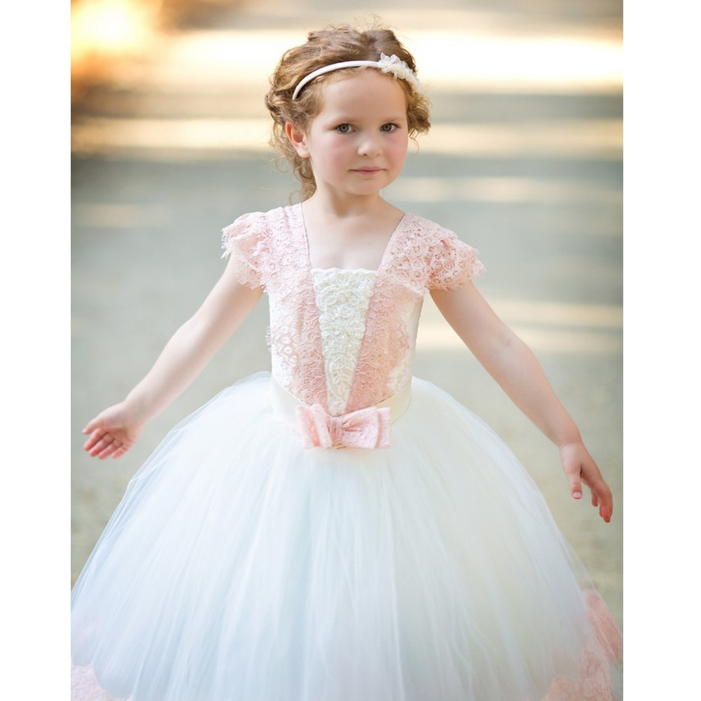 2ec8fa70e TriumphDress Girls Ivory Pink Vintage Lace Tulle Demi Flower Girl Ball Dress  1-6