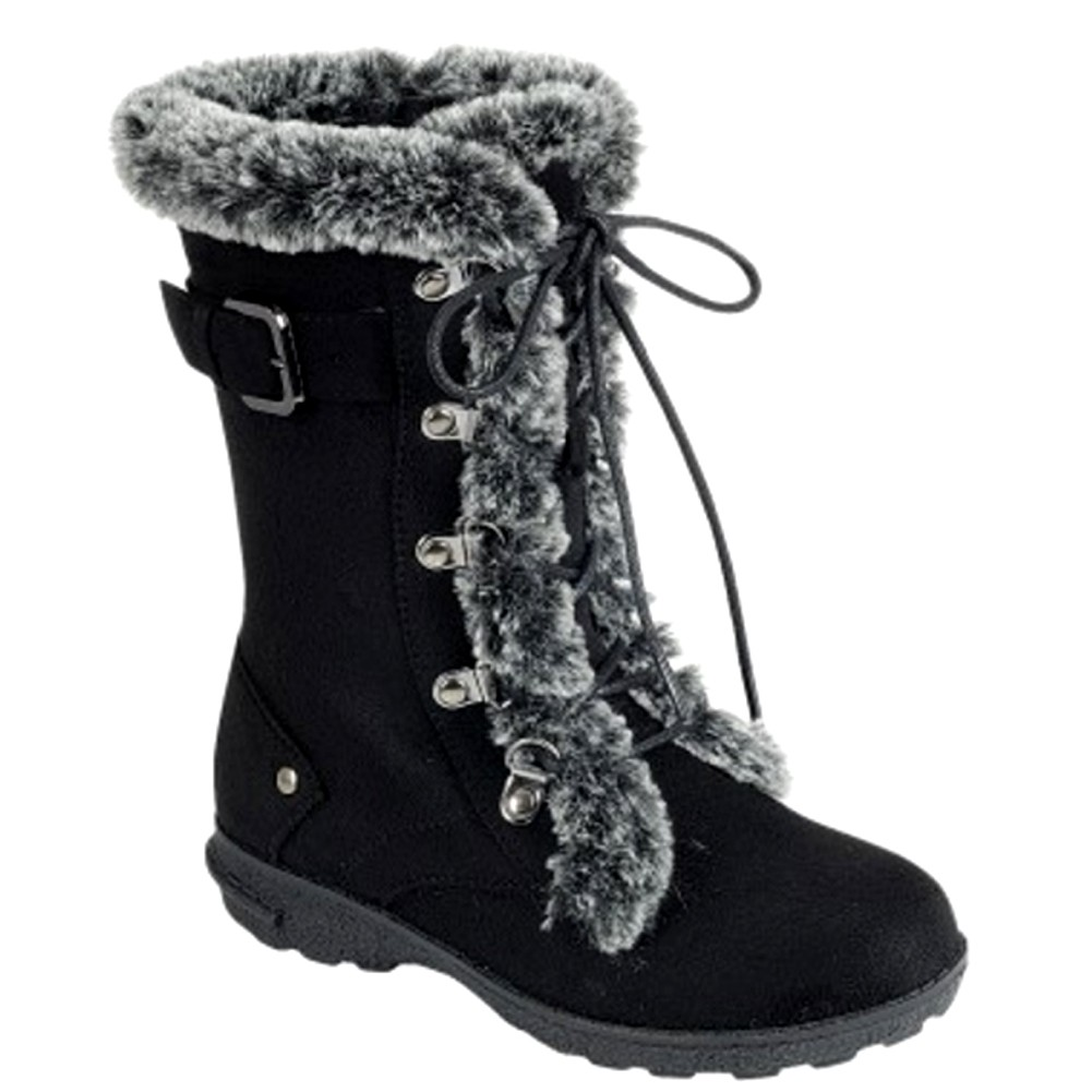 8be83e23e6b44f LINK Girls Black Buckle Strap Faux Fur Trim Lace-Up Closure Boots 11-4