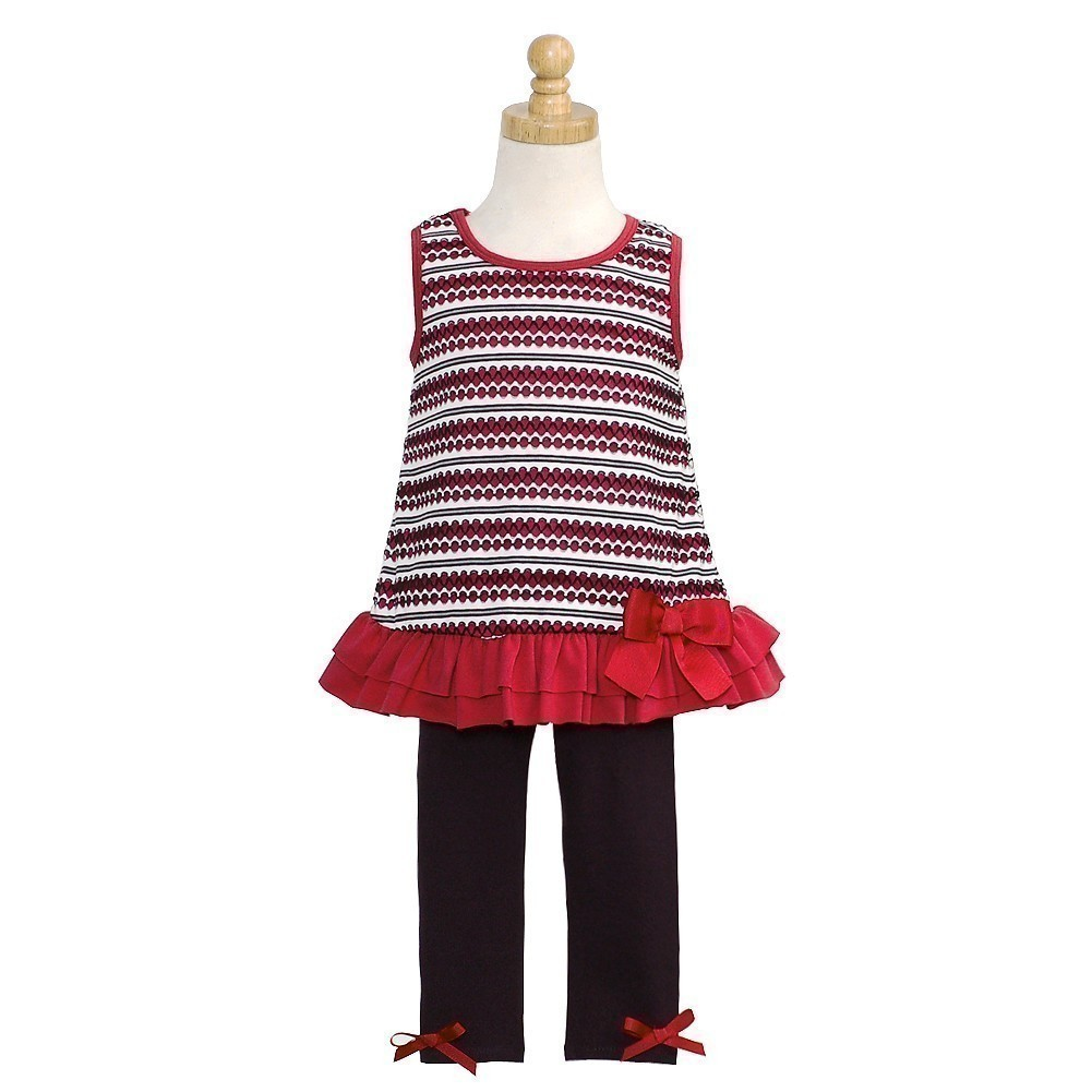 Bonnie Jean Infant Girl Red Black Tank Layered Bow Legging Outfit 18M at Sears.com