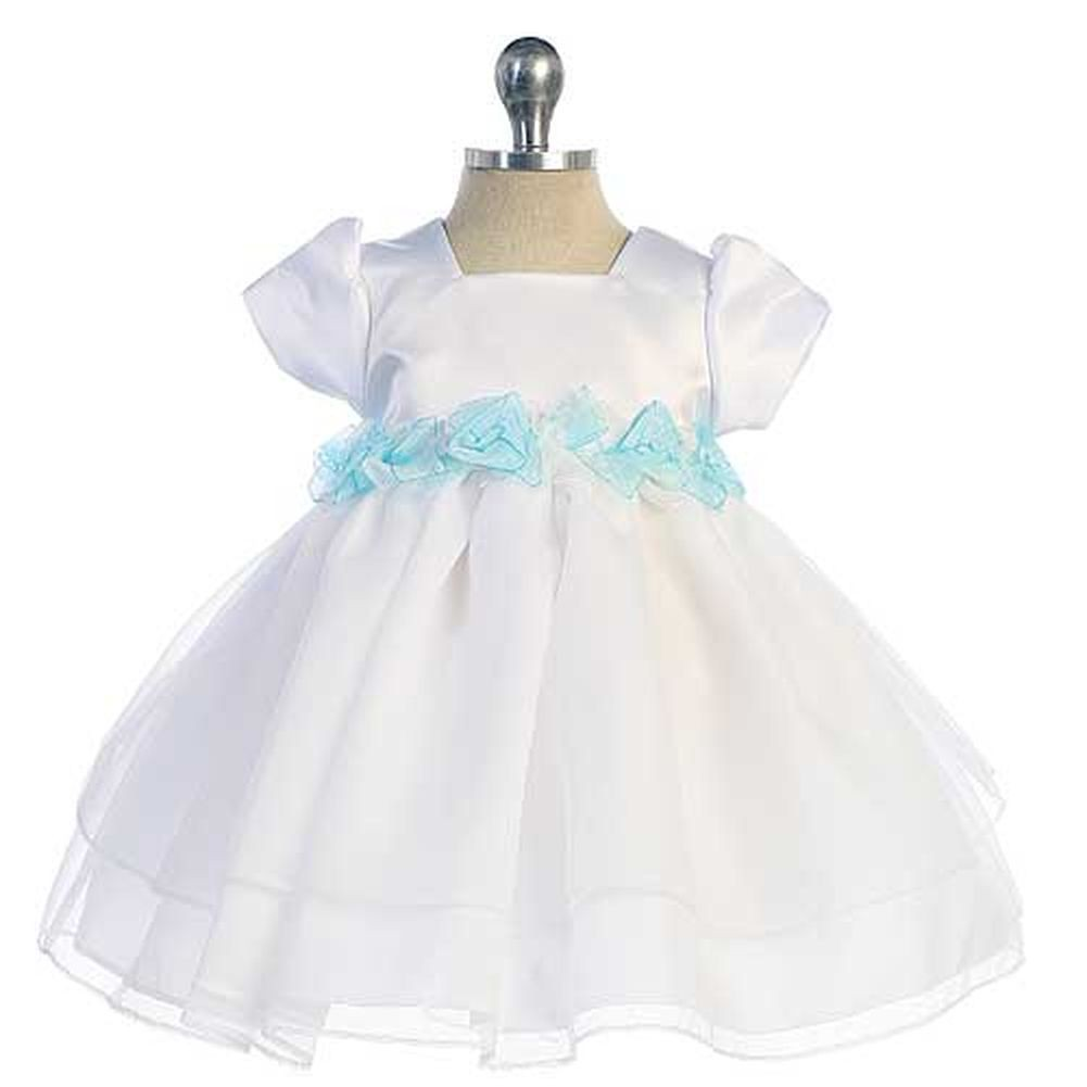 Chic Baby White Aqua Bows Satin Special Occasion Dress Baby Girls 24M at Sears.com