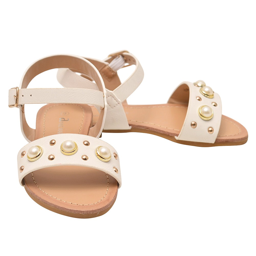 3f6a18e721f42b ANNE MARIE Girls White Stud Pearl Bead Adorned Open Toe Sandals 11-4 Kids