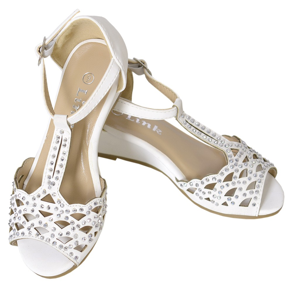 Forever Link Little Girl 4 Off White T Strap Sequin Wedge Heel Buckle Shoe at Sears.com