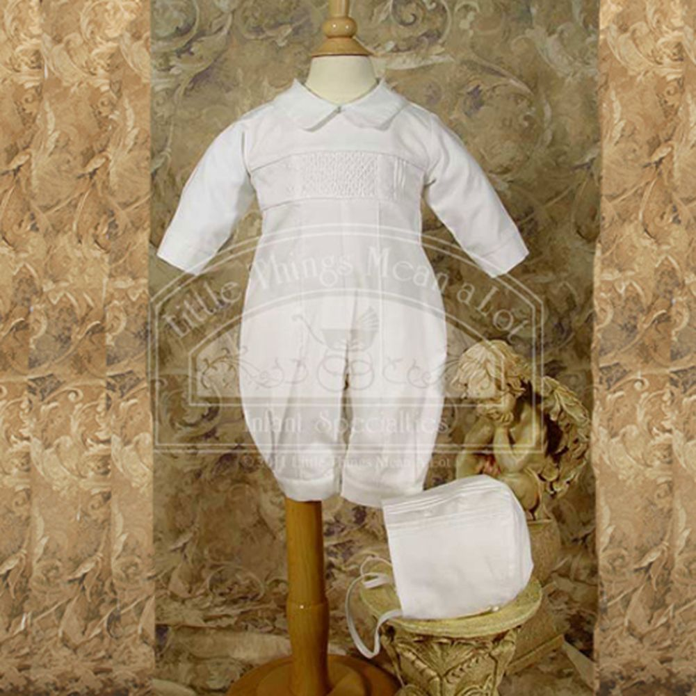 Little Things Mean a Lot Baby Boys Cute White Smocked Baptism Christening Outfit Suit Set 6M at Sears.com
