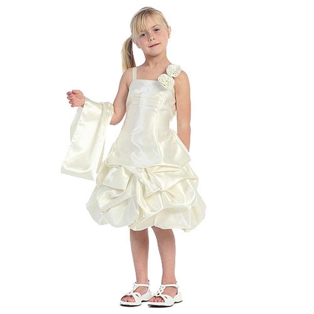 Chic Baby Girls Ivory Satin Floral Bubble Flower Girl Easter Pageant Dress 8 at Sears.com
