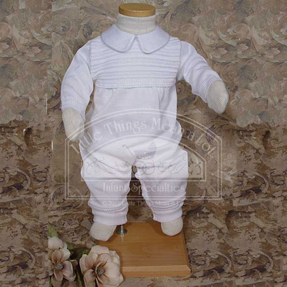 Little Things Mean a Lot Baby Boys White Ribbed Knit Baptism Christening Outfit Suit Set 3M at Sears.com