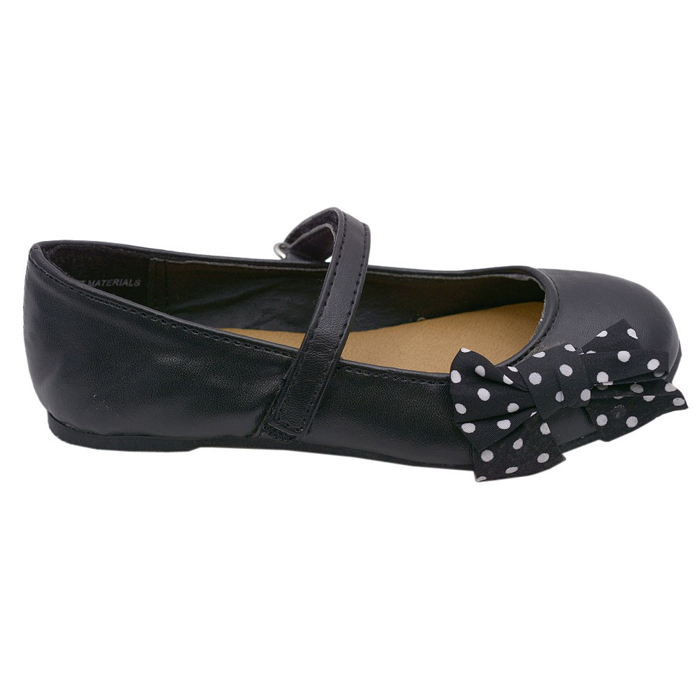 Modit Girls Black White Dotted Bow Knot Hook-and-Loop Strap Ballet Flats 12 Kids at Sears.com