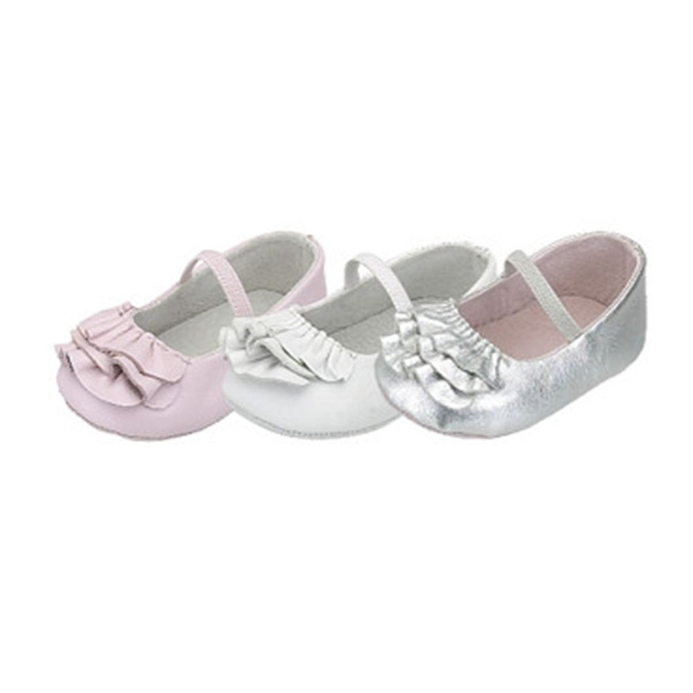 IM Link Infant Baby Girls Silver Ruffle Ballerina Style Summer Shoes Size 0 at Sears.com