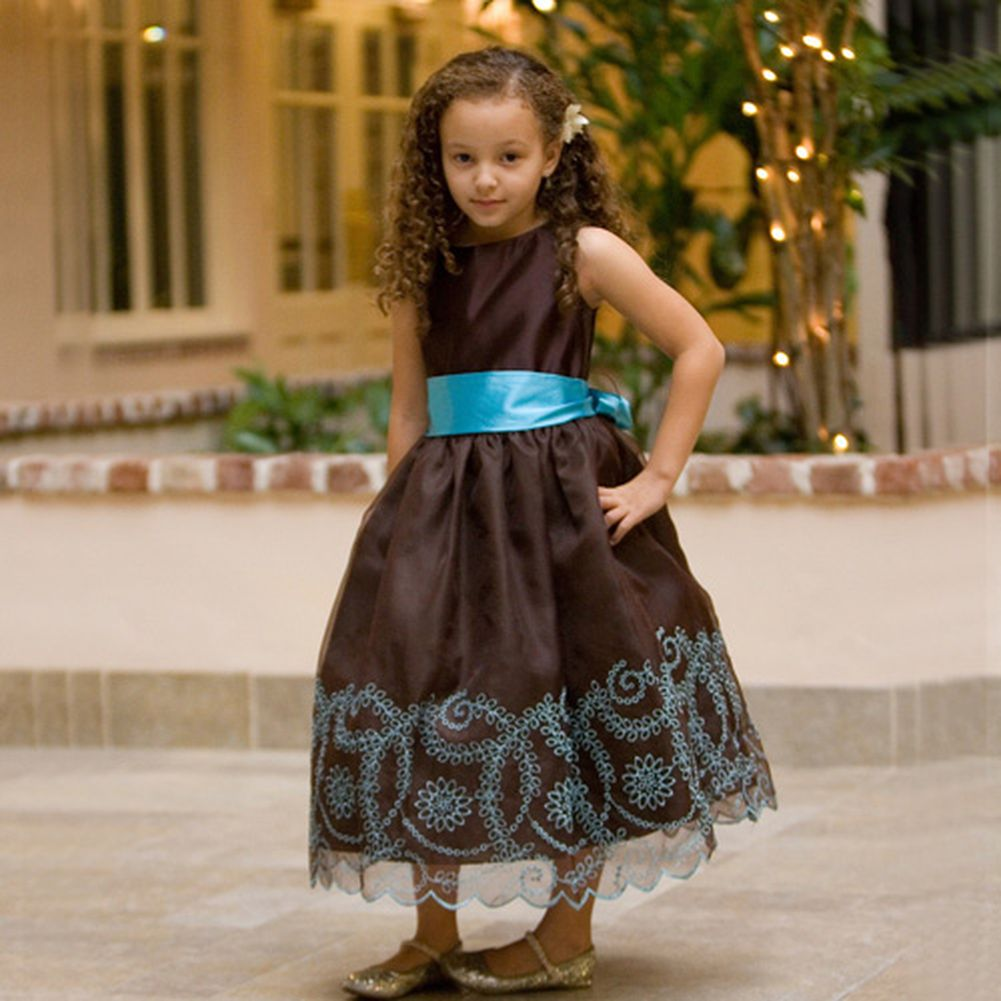 Kids Dream Chocolate Embroidered Flower Girl Dress Little Girls 4 at Sears.com