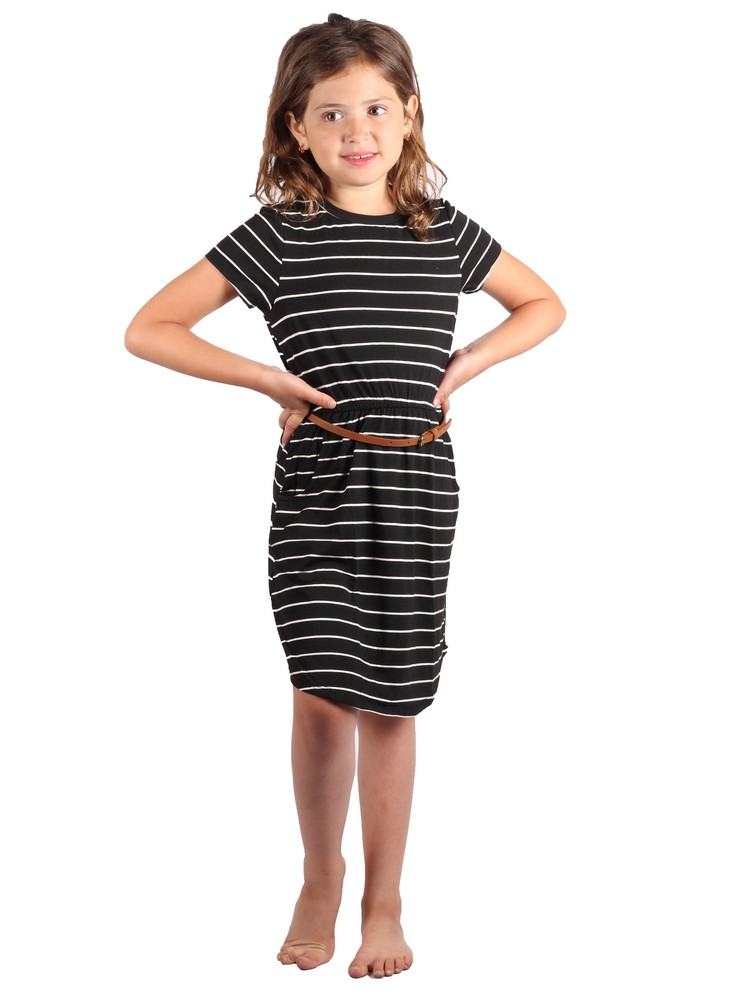 Lori & Jane Big Girls Black White Stripe Belt Short Sleeve Trendy Dress 5-14