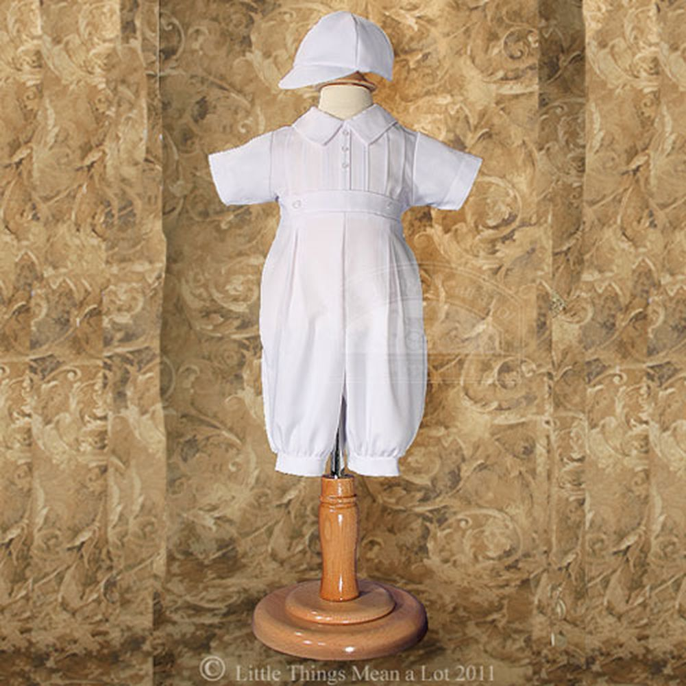 Little Things Mean a Lot Baby Boys White Gabardine Christening Baptism Outfit Set With Hat 0-3M at Sears.com