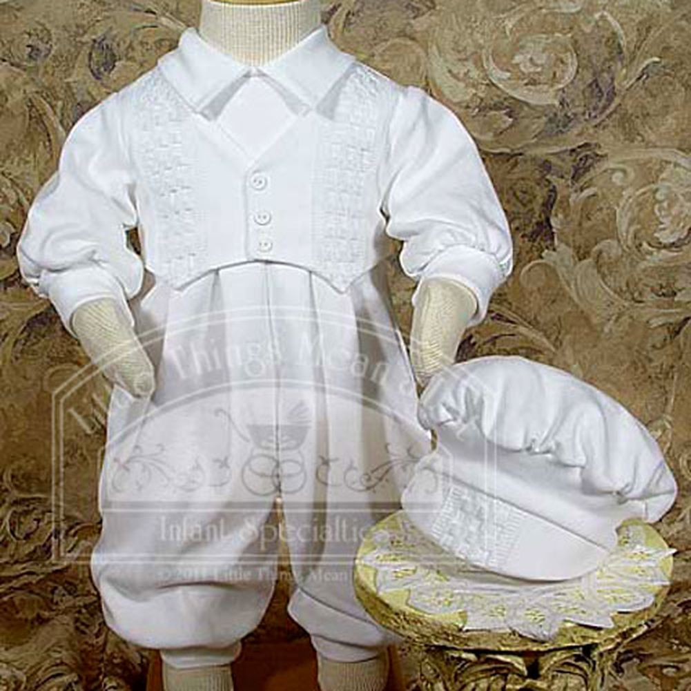 Little Things Mean a Lot Baby Boys White Coverall Christening Outfit and Hat Set 9-12M at Sears.com