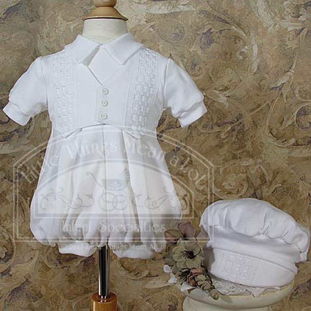 Little Things Mean a Lot Baby Boys White Short Coverall Christening Outfit and Hat Set 9-12M at Sears.com