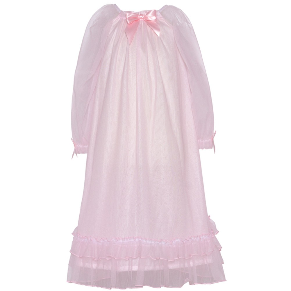 Laura Dare Little Girls 6X Light Pink Sheer Satin Bow Ruffle Nightgown at Sears.com