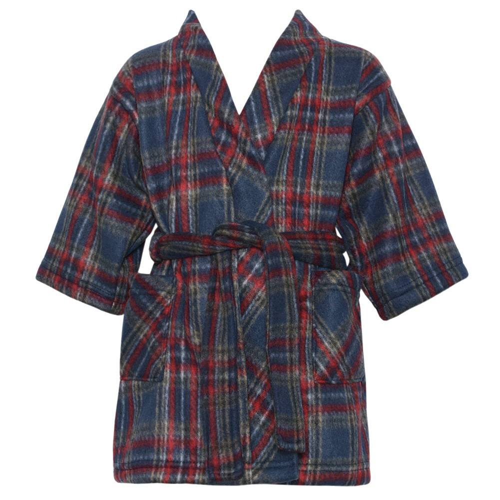 Cozytime Toddler Boy Girl 3T Navy Red Plaid Two Pocket Tie Fleece Robe at Sears.com