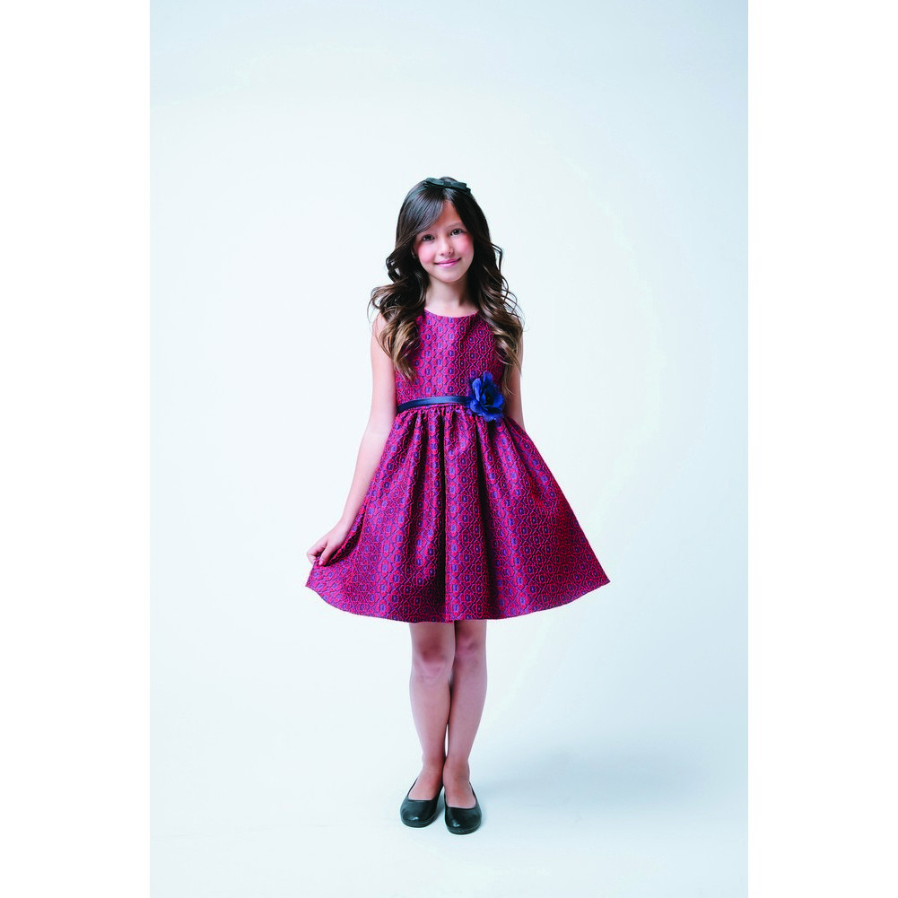 About sweet kids red navy floral print jacquard christmas dress 4