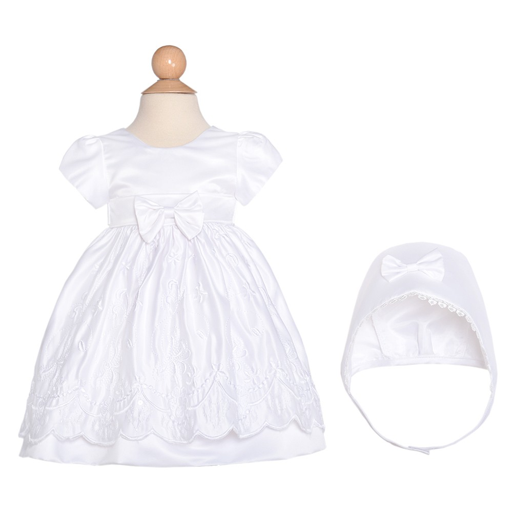 S. Square Corp Baby Girls 6M White Satin Flower Baptism Christening Gown Hat Set at Sears.com