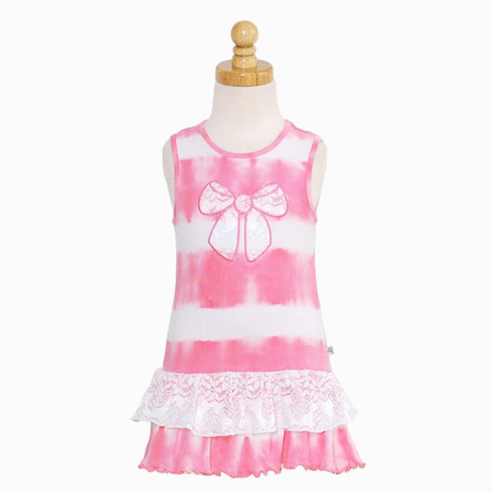 Consolidated Clothiers Toddler Girls Hot Pink White Tie Dye Bow Tank Ruffle Dress Size 4T at Sears.com