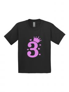 Little Girls Black Pink Glitter Birthday Number Three Short Sleeve T-Shirt 3-4T