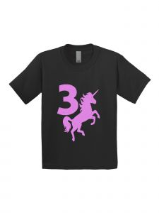 Little Girls Black Pink Birthday Number Three Unicorn Short Sleeve T-Shirt 3-4T