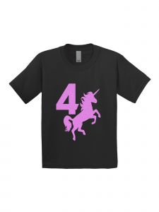 Little Girls Black Pink Birthday Number Four Unicorn Short Sleeve T-Shirt 4-5T