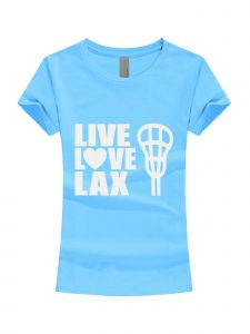 Girls Multi Color Glitter Live Love Lax Short Sleeve T-Shirt 3-16