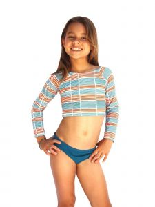 Azul Big Girls Orange Stripe Running Lines UV Protective Rash Guard Set 7-16