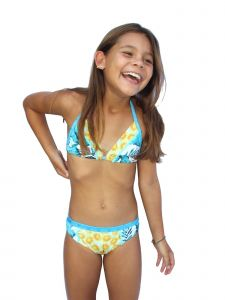 Azul Little Girls Turquoise Endless Summer Triangle 2 Pc Bikini Swimsuit 4-6