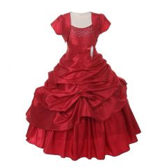 Chic Baby Big Girls Red Sparkle Bejeweled Pick Up Bolero Pageant Dress 8-18