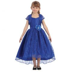 Chic Baby Little Girls Royal Blue Lace Hi-Low Special Occasion Jacket Dress 2-6