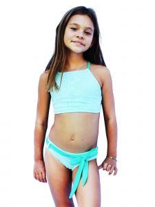 Azul Big Girls Aqua Breakfast At Tiffany's High Top Bikini 2 Pc Swimsuit 7-16