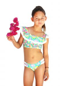 Azul Little Girls Multi Color Free Spirits Peasant 2 Pc Bikini Swimsuit 4-6