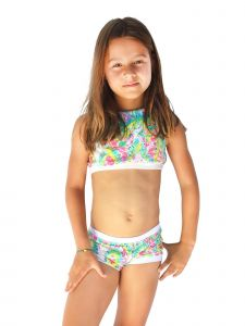 Azul Little Girls Multi Color Free Spirits Halter Top 2 Pc Shorts Swim Set 4-6