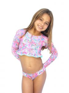 Azul Big Girls Pink Paisley Print Crop Long Sleeve 2 Pc Rash Guard Set 7-14