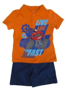 """Nickelodeon Little Boys Orange Blaze """"Live Life Fast"""" 2 Pc Shorts Outfit 4-7"""