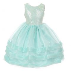 Rain Kids Big Girls Aqua Sequin Lace Organza Junior Bridesmaid Dress 8-12