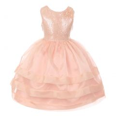RainKids Little Girls Blush Sequin Lace Organza Overlaid Flower Girl Dress 2-6