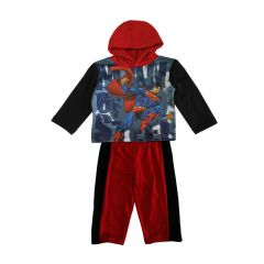 DC Comics Baby Boys Red Black Superman Hooded Top 2 Pc Pant Set 12-24M