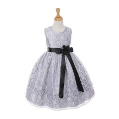 Cinderella Couture Little Girls Tea-Length Flower Corsage Dress 4-6