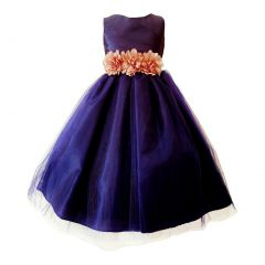 Big Girls Navy Blush Floral Belt Pleated Top Junior Bridesmaid Dress 8-16