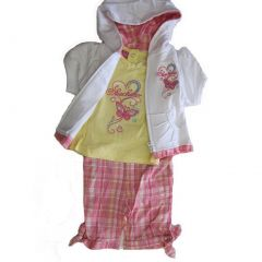 Skechers Baby Girls Coral Yellow Butterfly Tee Vest Plaid 3 Pc Capri Set 12M-24M