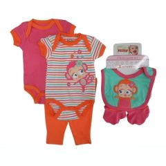 Nuby Baby Girls Coral Girl Bodysuits Pant Bootie Bib 5 Pc Layette Set 0-9M