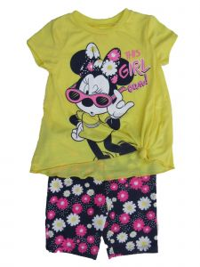 Disney Little Girls Yellow Minnie Mouse Short Sleeve Outfit Set 2T-4T