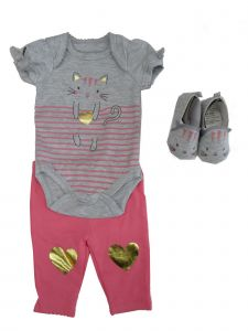 Weeplay Baby Girls Gray Pink Kitty Print Bodysuit Pants Shoes Outfit 0-9M