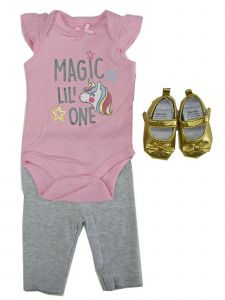 Weeplay Baby Girls Pink Magic Lil' One Bodysuit Pants Shoes Outfit 0-9M