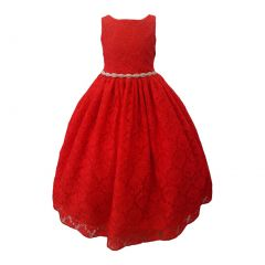 Big Girls Red Rhinestone Belt Lace Overlay Special Occasion Dress 8-14
