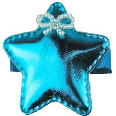 Reflectionz Girls Turquoise Glossy Star Beaded Ribbon Accent Hair Clippie